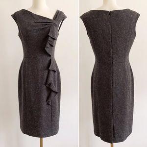 White House Black Market Tweed Dress w/ Ruffle